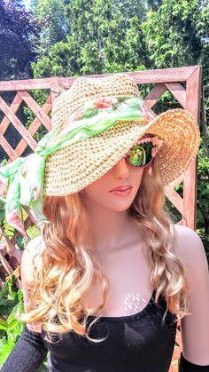 Floppy Sun Hat with Floral hatband Beach Straw Hat by FashNerds