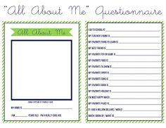 """Free printable """"all about me"""" kids questionnaire."""