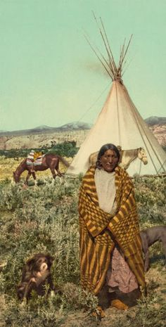 Crow woman - (color tinted in 1902 from an 1880 original)