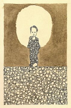 Egon Schiele(1890ー1918)「Child with halo in a flower meadow」(1909)