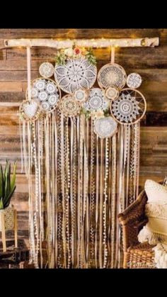 Mix different textures of doilies and ribbon for a modern bohemian wall hanging!… Mix different textures of doilies and ribbon for a modern bohemian wall hanging! Unique Wall Decor, Diy Wall Decor, Room Decor, Bohemian Party Decorations, Hanging Decorations, Wedding Decorations, Mur Diy, Doilies Crafts, Crochet Doilies