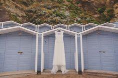 Wedding Dress, Beach Huts, Lusty Glaze Beach Wedding, Blue Beach Wedding, Wedding Dress,  Captured by www.marieansonphotography.com