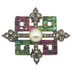Victorian Emerald Ruby Diamond Pearl Brooch