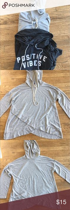 Mossimo Two hoodies dark gray Sz M light gray Sz L Two hoodies the dark one is by Peaceful Warrior and light one Mossimo both washed not worn Sz M and L. Very soft light weight perfect for cool spring and summer nights! Mossimo Supply Co Tops Sweatshirts & Hoodies