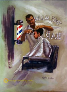 A Classic cut painted inside my husband's barbershop--first of more to come!