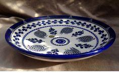 Blue Guinea Fowl Ceramic Salad Bowl bird by AfricanCeramicsUSA #capetown #southafrica #cobalt #blue #guineafowl #tourism