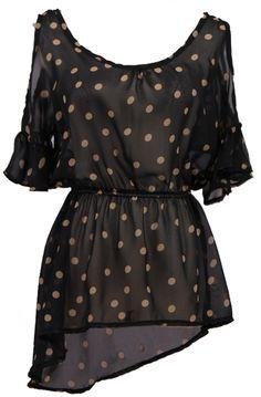 #SheInside Black Ruffles Short Sleeve Polka Dot Chiffon Blouse