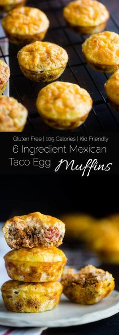 6 Ingredient Taco Egg Muffins - These 6-ingredient, kid-friendly taco breakfast egg muffins have all the Mexican taste without the carbs! They're an easy, healthy, gluten free and protein packed portable breakfast with only 105 calories! | Foodfaithfitness.com| @FoodFaithFit