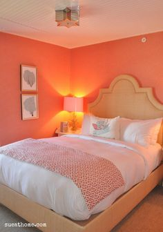 Beautiful White And Coral Bedroom. Coral Walls Complimented With A Crisp White  Ceiling, Bed, Carpet And Accessories.