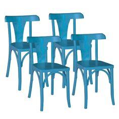 Cadeira Fiche 4 Peças Azul - Urbe Móveis