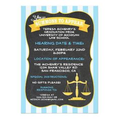Graduation for Law School Invitation Summons. Love these for the new lawyer in the family! Graduate School, Law School, Criminal Justice Graduation, Graduation Party Invitations, Graduation Cards, Graduation Ideas, Grad Parties, Mini Cakes, Zazzle Invitations