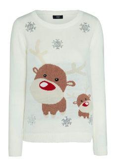 CLOTHINGATTESCO.COM F&F SEQUIN EMBELLISHED REINDEER CHRISTMAS JUMPER