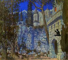 БОРИС ШАЛЯПИН (1904–1979). Монастырь. Эскиз к опере «Демон» Антона Рубинштейна. 1930-1934 Painting, Art, Art Background, Painting Art, Kunst, Paintings, Performing Arts, Painted Canvas, Drawings