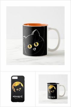 Objets with modern design made of curve lines and textures, colors black and yellow . The theme is the cat in front of the moon. Funny design mades for all Funny Design, Black N Yellow, Modern Design, Mugs, T Shirt, Color, Colour, Tee, Tumbler