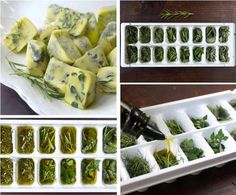 Freeze freshly-cut herbs in olive oil and use in recipes all winter... From 15 Amazing Gardening Hacks