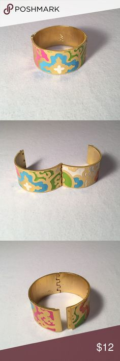 Party gold cuff bracelet Bright, bold design pattern gives a trendy vibe. Bracelet gives you a great look with the simplicity of a single cuff. Jewelry Bracelets
