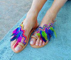 Boho Sandals ''Rainbow Macaw'' Feather Sandals by ElizabethShoes  www.etsy.com/listing/257801557/boho-sandals-rainbow-macaw-feather  #bohosandals #feathersandals #bohochic