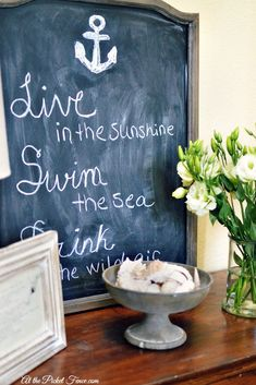 Summer chalkboard quote and simple summer decor ideas atthepicketfence.com