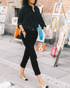 Pants: tumblr black cropped shirt black shirt slingbacks nude shoes shoes mid heel sandals office