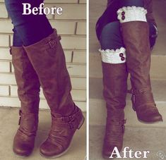 Chic DIY Boot Cuffs - Supplies: •White Secondhand Sweater •Eyelet Lace, about 1 yd. •4 Buttons, medium in size.
