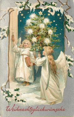 WEIHNACHTSGLUCKWUNSCE   two angels in white, one pulls bell, other carries lighted tree CHRISTMAS titled in German  Set Comment silver embossed, PRINTED IN SAXONY, USA backs, sold in N.America, same images English insc. 136, French 137 First Use:	25/12/1909 Sold As:	set of 12 cards Where Sold  United States of America, Canada