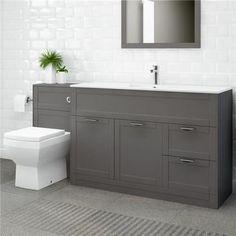 Nottingham 1000 grey combination unit with aurora back to wall toilet bathr Toilet Vanity Unit, Toilet And Sink Unit, Bathroom Sink Units, Sink Vanity Unit, Toilet Sink, Bathroom Toilets, Bathroom Storage Units, Big Bathrooms, Upstairs Bathrooms