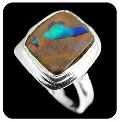 Opal Ring:South American opal 'map' picture stone from Winton opal field Australia, set in Sterling silver. Ref code: 5437 - suit ladies or gents fashion jewelry (jewellery)