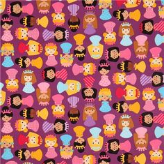 purple girl princess fabric by Robert Kaufman USA