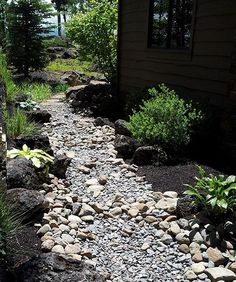 dry creek bed landscaping | dry creek bed landscaping looks best with multii-sized stones and ...