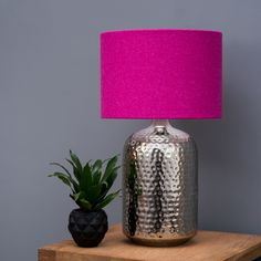 Quirk Ltd Harris Tweed Plain Bright Hot Pink Drum Lampshade 60 00 Http