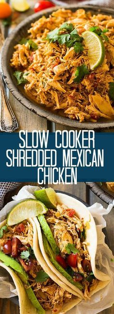 This easy slow cooker shredded mexican chicken is a great base recipe to use for tacos enchiladas nachos burritos salads or just serve it over rice countrysidecravings com enchilada sauce Mexican Food Recipes, New Recipes, Healthy Recipes, Slow Cooker Recipes Mexican, Recipes Dinner, Dinner Ideas, Recipies, Healthy Mexican Food, Healthy Tacos