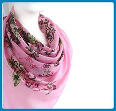 Sparkly Elegant Spring Summer Scarf Pink Silvery Floral Print Soft Cotton Large Square 38 x 38 inches - Bridal fashion accessories (*Amazon Partner-Link)
