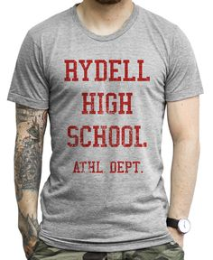 Rydell High School ATHL. DEPT. (red) on a Unisex Athletic Grey Tee Shirt