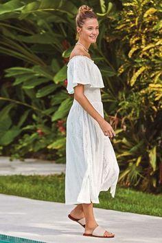 White Broderie Off The Shoulder Dress Off Shoulder Dresses, Off Shoulder Fashion, Off The Shoulder, Beautiful Summer Dresses, Midi Length Skirts, Bardot Dress, Party Dresses For Women, Beachwear, Evening Dresses