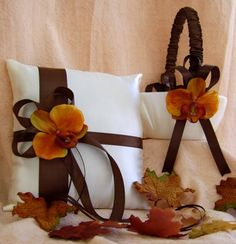 Chocolate Brown and Burnt Orange Wedding Colors, Flower girl basket and ring bearer pillow