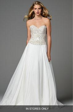 Main Image - Watters Mayne Corset Organza Gown (In Stores Only)