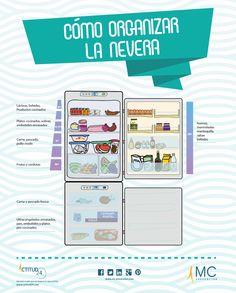 #infografia sobre cómo organizar los #alimentos en la #nevera una vez hecha la…