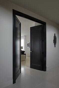 double swingdoor and door frame black lacquer