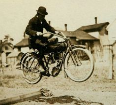 Vintage Picture of a Guy Jumping Antique Motorcycle  #AntiqueMotorcycle