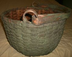 AWESOME 19TH C LG. SPLINT SWING HANDLE BASKET IN EARLY GREEN PAINTED SURFACE NR! Sold (gina)