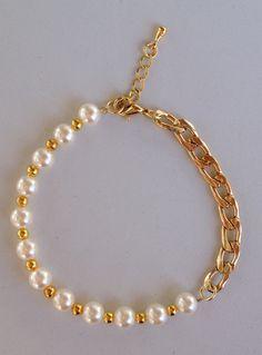 Pearl and chain bracelet pulseira corrente e perola