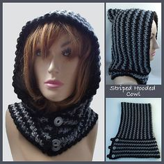 Free Ravelry: Striped Hooded Cowl pattern by Rhelena's Crochet Patterns