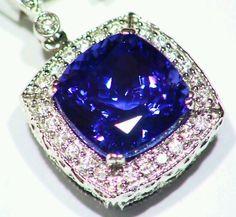 7.97CT 14K GOLD NATURAL TANZANITE ROUND CUT WHITE DIAMOND ENGAGEMENT NECKLACE #Handmade #Pendant