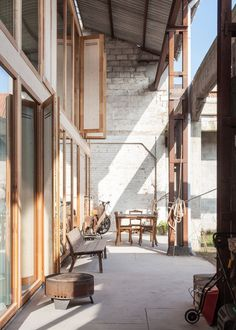 great reuse of existing structure/shell - House Gentbrugge by GAFPA in Ghent, Belgium Contemporary Architecture, Interior Architecture, Wooden Facade, Arch Interior, Wooden House, Building, Ghent Belgium, Lattices, Shell House