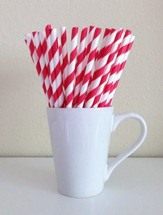 25 Paper Straws - Red and White Striped Party Straws and DIY Printable Drink Flags / Wedding / Birthday / Baby Shower Grad Parties, Birthday Parties, Canada Day Party, Mason Jar With Straw, Cake Pop Sticks, My Bridal Shower, Bridal Showers, Nautical Party, Nautical Style