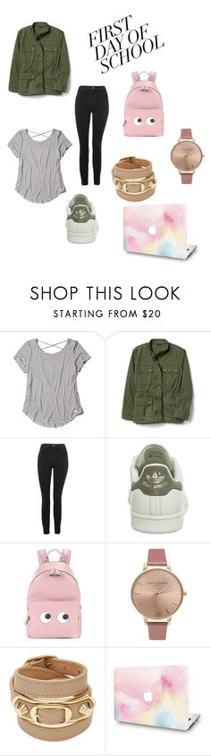 """""""#contest#firstdayschool#fashion#teenagers#outfit"""" by nourhan-gamal ❤ liked on Polyvore featuring Hollister Co., Topshop, adidas, Anya Hindmarch, Olivia Burton and Balenciaga"""