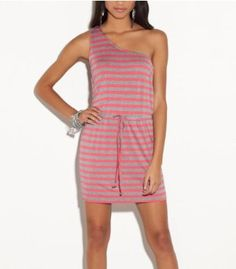 G by GUESS Tracy Asymmetrical Striped Dress