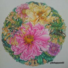 Detailed colored pencil flowers from Florabunda