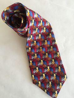 Jerry J Garcia 100% Silk Necktie Mens Tie Blue Gold Red Abstract Design Workwear #JGarcia #Tie