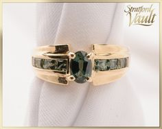 Vintage ~ Green Sapphire Ring ~ Yellow Gold ~ Oval Created Green Sapphire ~ Princess Cut Created Sapphires ~ by StratfordVault on Etsy Green Sapphire Ring, Bangles, Bracelets, Beautiful Gift Boxes, Vintage Green, Princess Cut, Jewels, Trending Outfits, Create